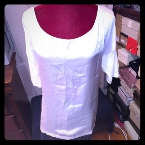 White satin front and cotton back top